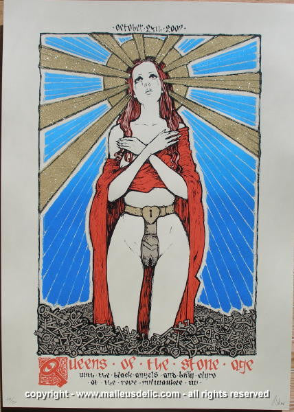 2007 Queens of the Stone Age Milwaukee Silkscreen Concert Poster by Malleus