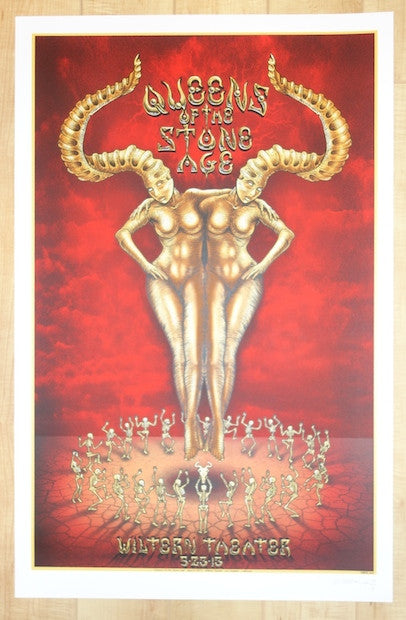 2013 Queens of the Stone Age - LA Silkscreen Concert Poster by Emek