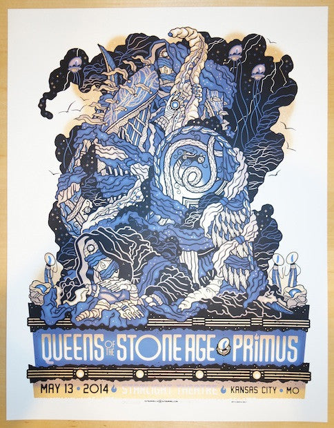 2014 Queens of the Stone Age & Primus - Kansas City Concert Poster by Guy Burwell