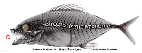 2003 Queens of the Stone Age - Bonefish Concert Poster by Emek