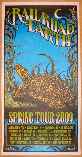 2009 Railroad Earth Silkscreen Concert Poster by Michael Everett