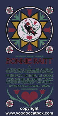 2002 Bonnie Riatt Silkscreen Concert Poster by Gary Houston