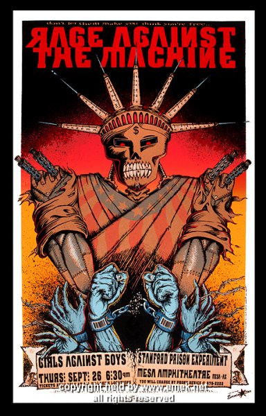 1996 Rage Against the Machine Silkscreen Concert Poster by Emek