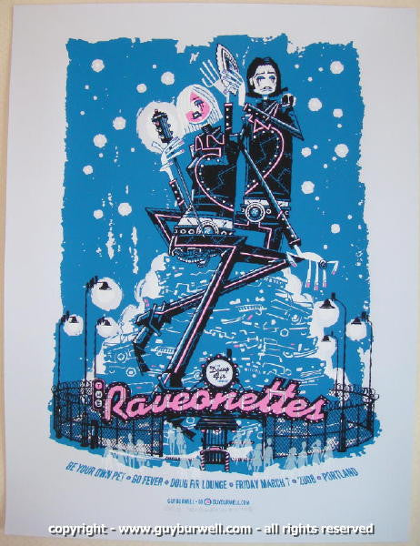 2008 The Raveonettes Silkscreen Concert Poster by Guy Burwell