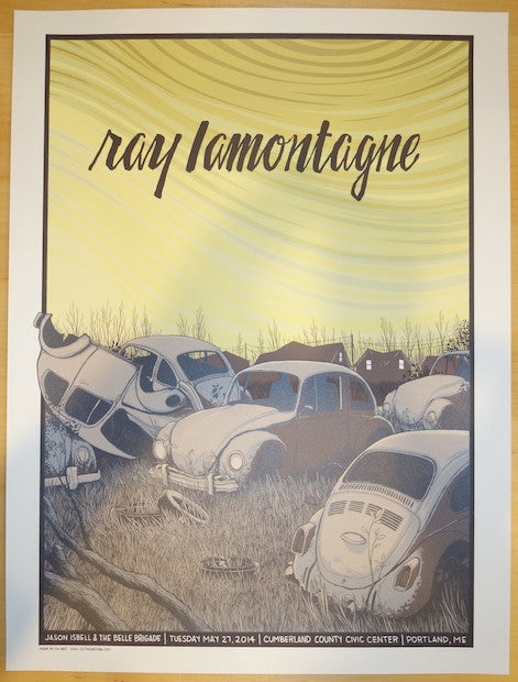 2014 Ray Lamontagne - Portland Concert Poster by Justin Santora