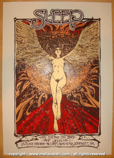 2009 Sleep - Silkscreen Concert Poster by Malleus