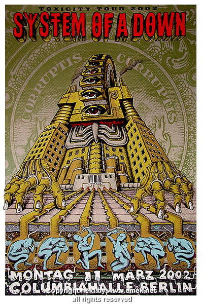 2002 System of a Down Silkscreen Concert Poster by Emek