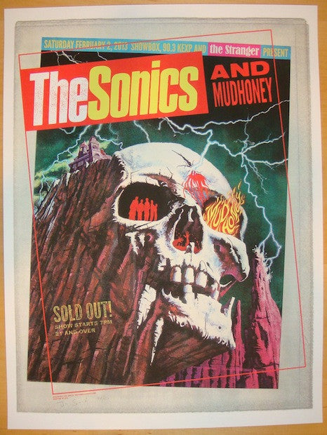 2013 The Sonics - Seattle Silkscreen Concert Poster by Jon Smith