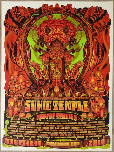 2019 Sonic Temple - Foo Fighters / Disturbed Silkscreen Concert Poster by Guy Burwell