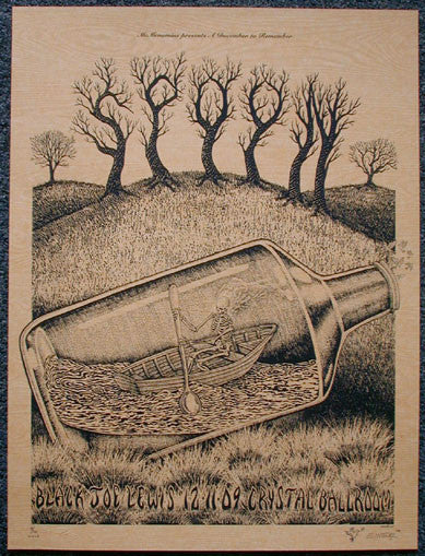 2009 Spoon - Wood Variant Silkscreen Concert Poster by Emek