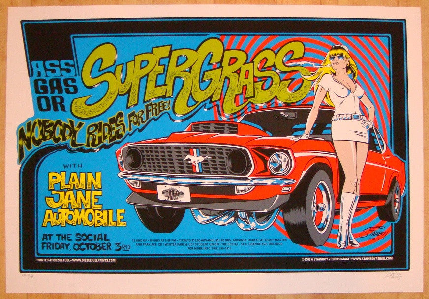 2003 Supergrass - Silkscreen Concert Poster by Stainboy
