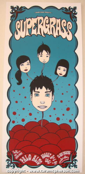 2003 Supergrass - Silkscreen Concert Poster by Tara McPherson