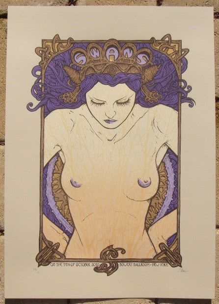 2010 Swans - NYC Silkscreen Concert Poster by Malleus