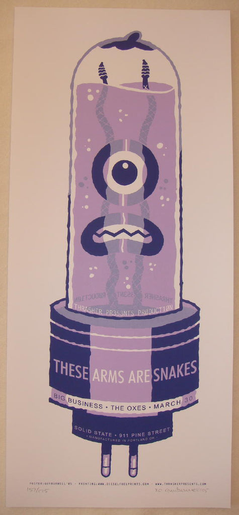2005 These Arms Are Snakes - Portland Silkscreen Concert Poster by Guy Burwell
