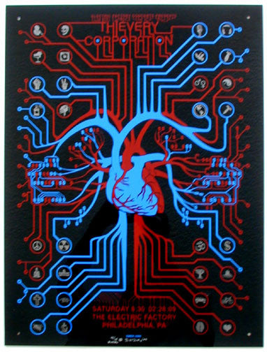 2009 Thievery Corporation - Black Plexiglass Poster by Emek