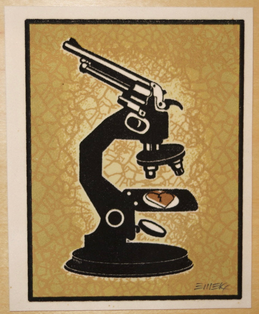 2007 Science of Love and Death - Small Crackle Velvet Silkscreen Handbill by Emek