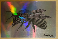 2011 Bee - Black/White Foil Variant Silkscreen Handbill by Emek