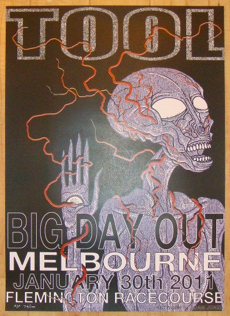 2011 Tool - Melbourne Silkscreen Concert Poster by Adam Jones