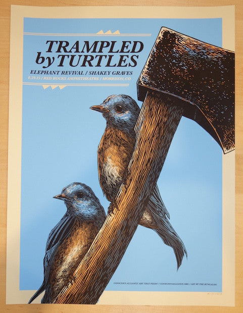 2015 Trampled by Turtles - Red Rocks Silkscreen Concert Poster by John Vogl
