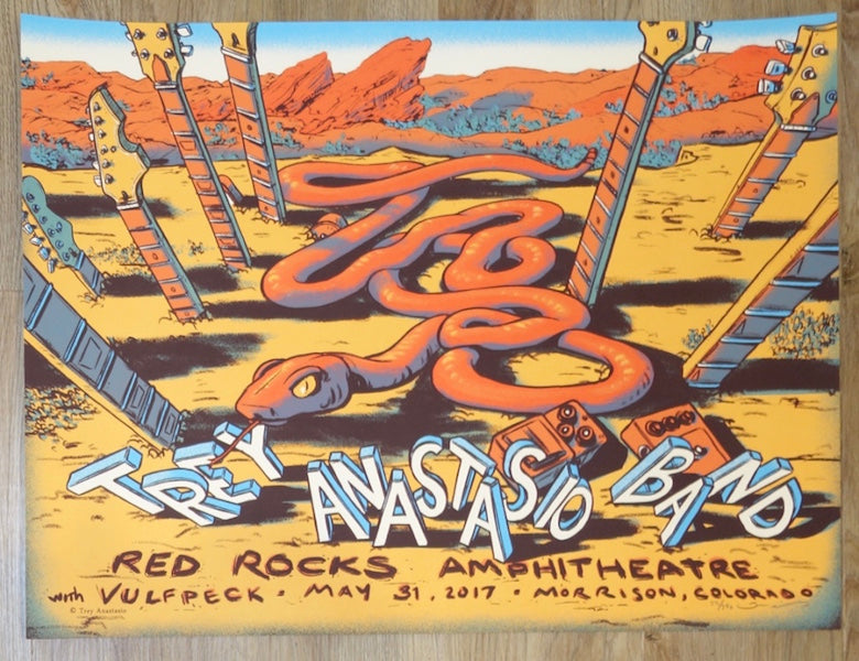 2017 Trey Anastasio - Red Rocks Silkscreen Concert Poster by James Flames