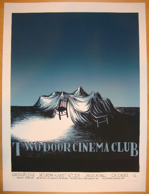 2011 Two Door Cinema Club - Chicago Silkscreen Concert Poster by Justin Santora