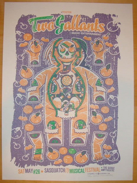 2007 Two Gallants - Sasquatch! Concert Poster by Guy Burwell
