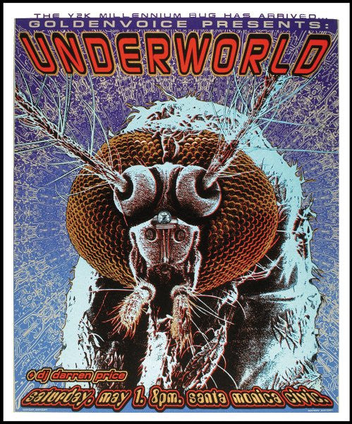 1999 Underworld - Santa Monica Silkscreen Concert Poster by Emek