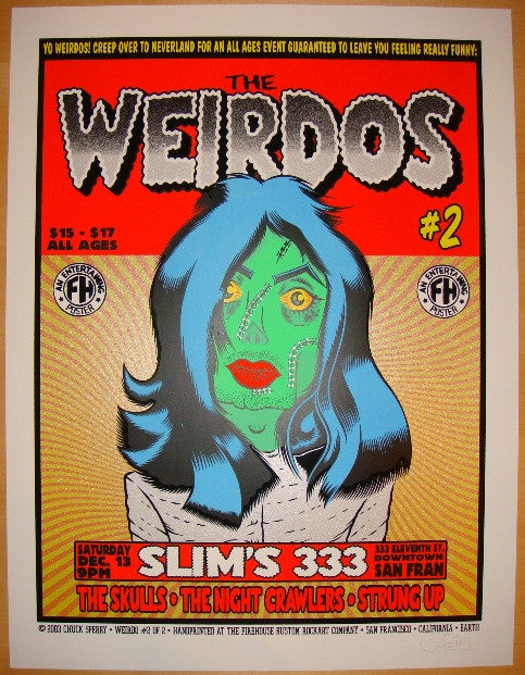 2003 The Weirdos - Silkscreen Concert Poster by Chuck Sperry