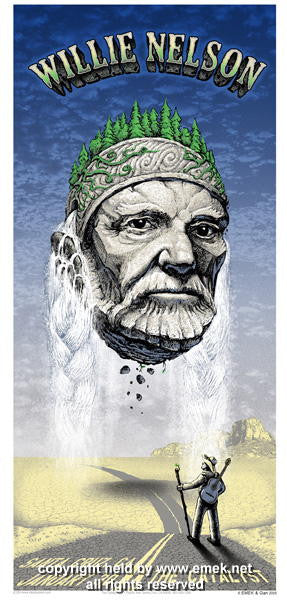 2006 Willie Nelson - Silkscreen Concert Poster by Emek