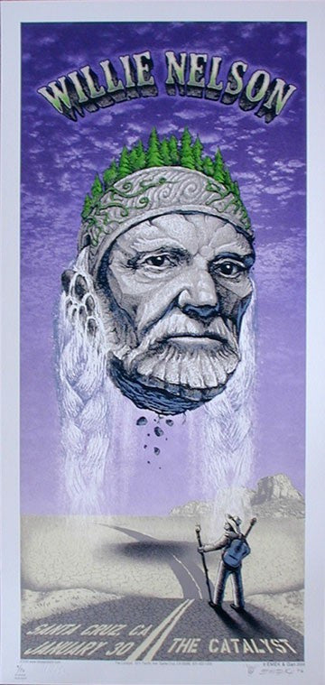 2006 Willie Nelson - Purple Variant Concert Poster by Emek