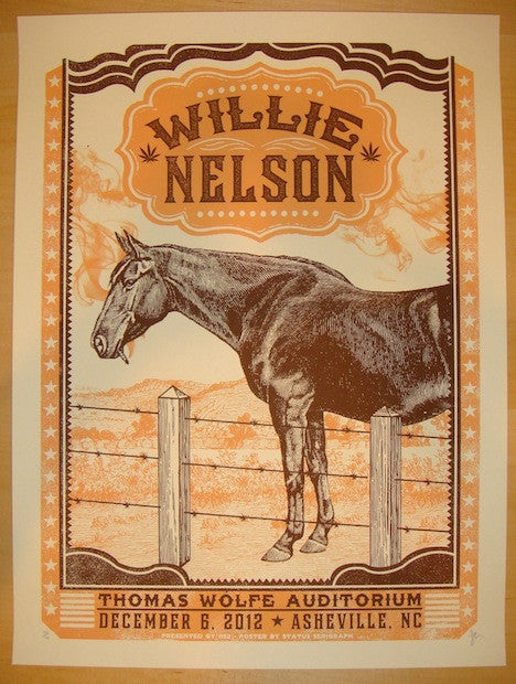 2012 Willie Nelson - Asheville Concert Poster by Status