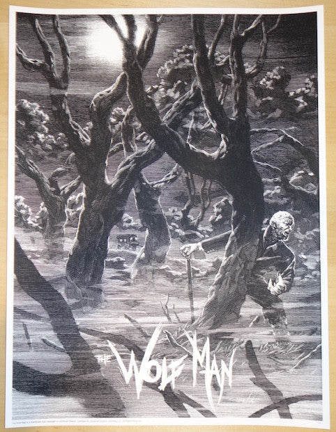 "2015 ""The Wolf Man"" - Silkscreen Movie Poster by Nicolas Delort"