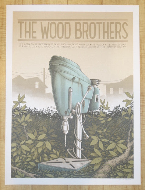 2016 The Wood Brothers - Winter Tour Silkscreen Concert Poster by Justin Santora