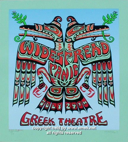 2002 Widespread Panic Pale Green Variant Concert Poster by Emek