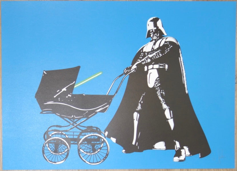 2013 I Am Your Vader - Blue Stencil Art Print by Fake