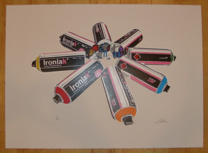 2010 Ironlak Attack - Stencil Art Print by Ian Millard