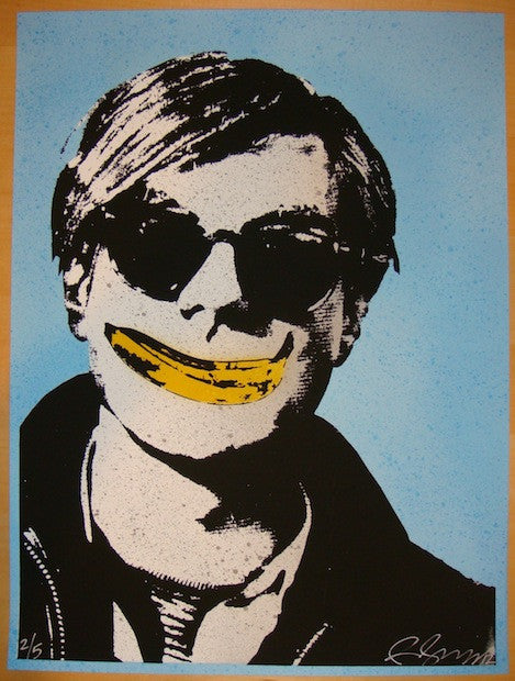 2012 Andy Warhol w/ Banana Smile - Blue Art Print by Rene Gagnon