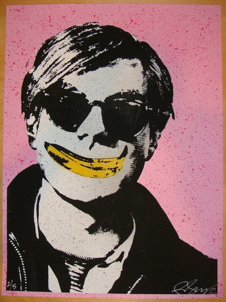 2012 Andy Warhol w/ Banana Smile - Pink Art Print by Rene Gagnon