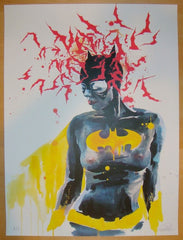 2013 Bat Girl - Silkscreen Art Print by Lora Zombie