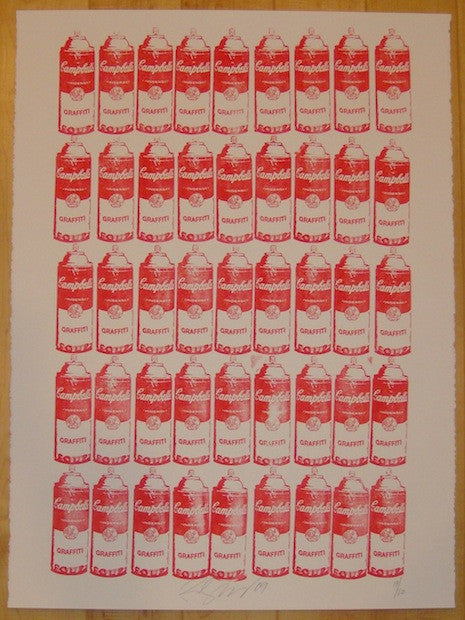 2009 Graffiti Soup - Red Ink Stamp Art Print by Rene Gagnon
