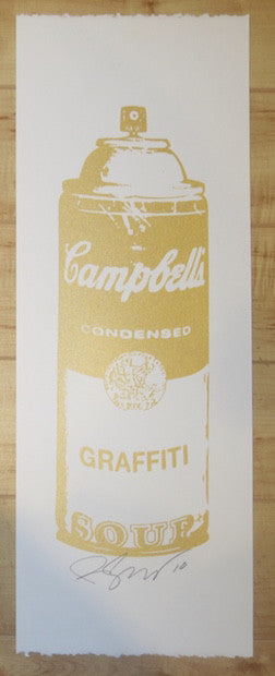 2010 Graffiti Soup - Gold Silkscreen Art Print by Rene Gagnon
