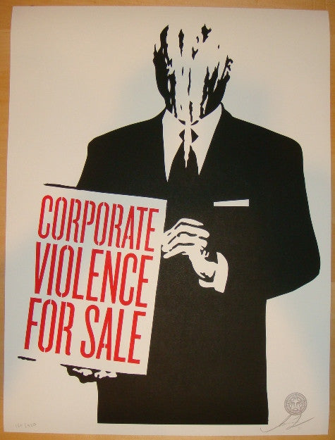 2011 Corporate Violence For Sale - Art Print by Shepard Fairey