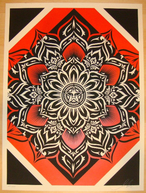 2011 Lotus Diamond - Red Silkscreen Art Print by Shepard Fairey