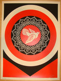 2011 Obey Dove - Red Silkscreen Art Print by Shepard Fairey