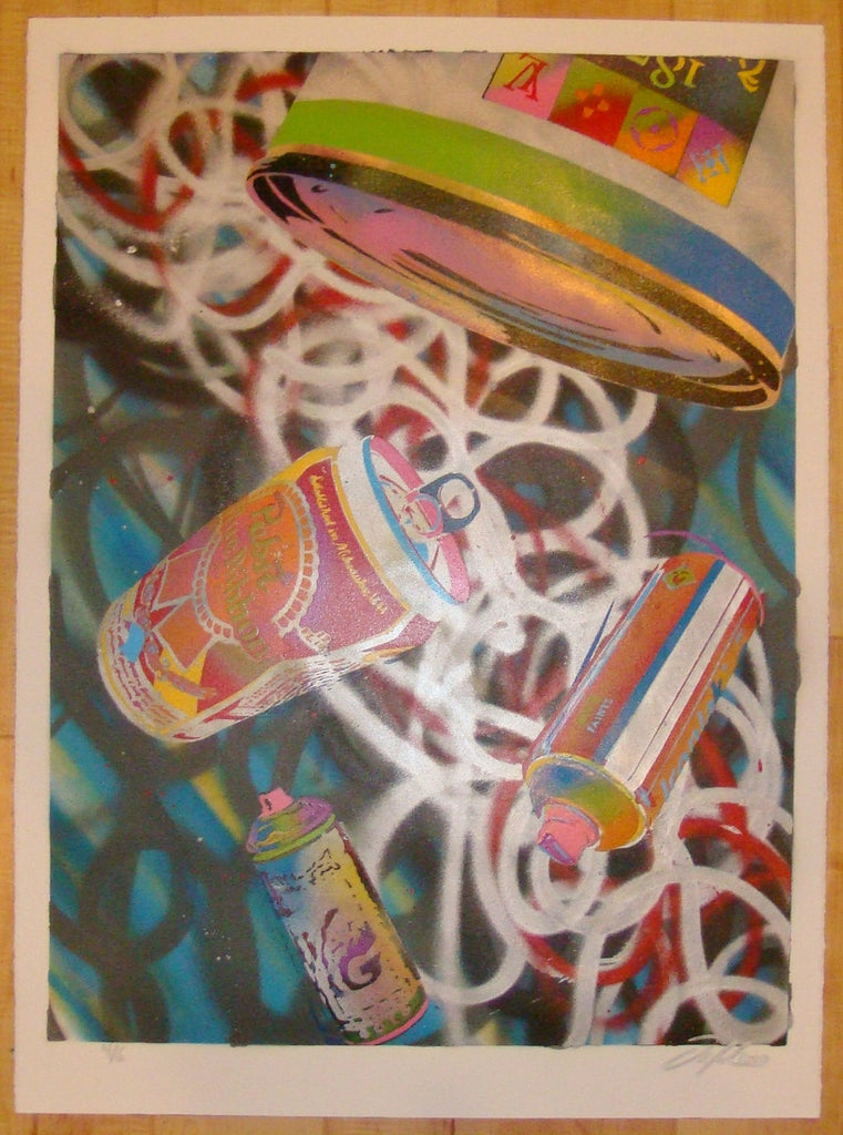 2010 Falling Cans #4 - Mixed Media Art Print by Ian Millard
