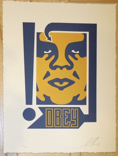 2014 Giant Mustard and Navy - Letterpress Fine Art Print by Shepard Fairey