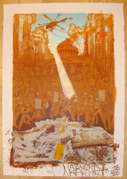 2011 Global Uprising - Silkscreen Art Print by Mear One