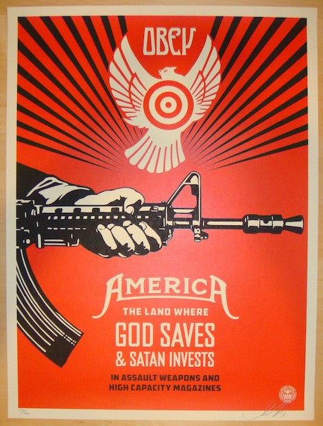 2013 God Saves & Satan Invests - Art Print by Shepard Fairey