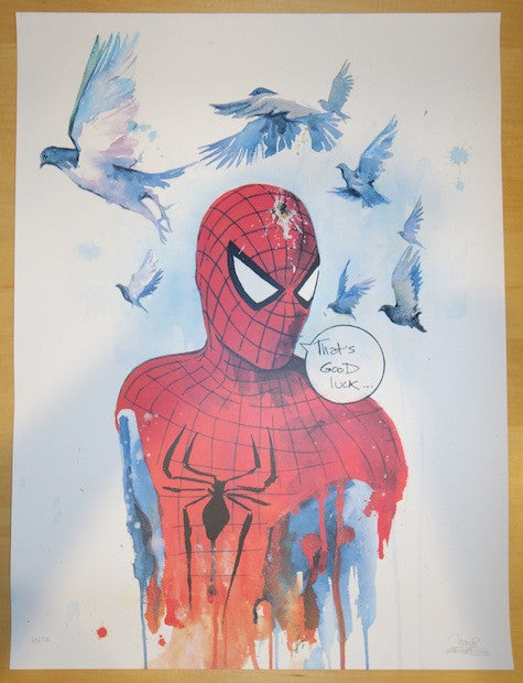 2013 Good Luck Spidey - Silkscreen Art Print by Lora Zombie