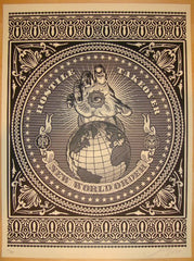 2007 Hostile Takeover - Black Art Print by Shepard Fairey